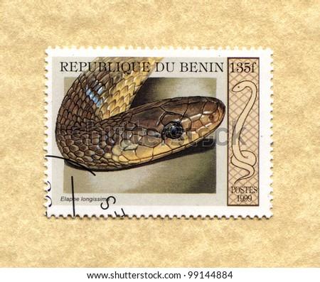 BENIN - CIRCA 1999: A stamp printed in Benin showing types of snakes, circa 1999