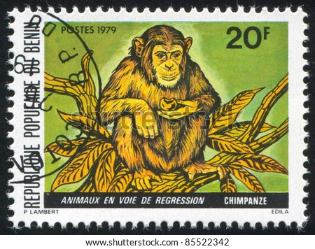 BENIN - CIRCA 1979: stamp printed by Benin, shows Chimpanzee, circa 1979.
