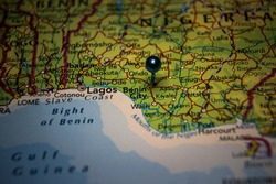 Benin City, the capital, and largest city of Edo State in southern Nigeria pinned on geographical map