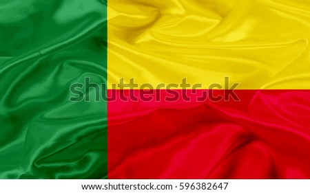 benin flag of silk-3D illustration #596382647