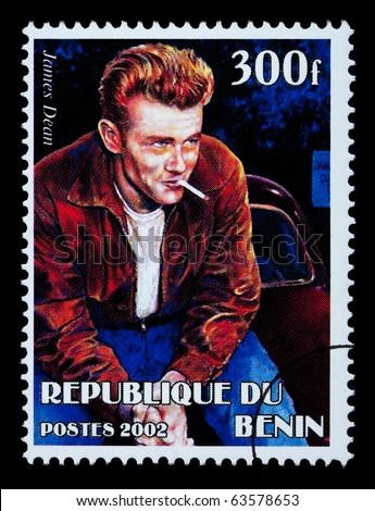 BENIN REPUBLIC - CIRCA 2002: A postage stamp printed in the Benin Republic showing James Dean, circa 2002