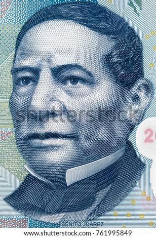 Benito Juarez face portrait on Mexico 20 pesos (2013) banknote closeup macro, Mexican money close up #761995849