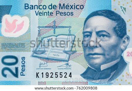 Benito Juarez face portrait on Mexico 20 pesos (2013) banknote closeup macro, Mexican money close up #762009808
