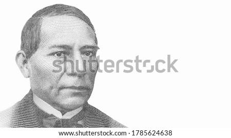Benito Juarez President of Mexico, Portrait from Mexico Banknotes.
