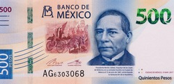 Benito Juarez, 26th President of Mexico, Portrait from Mexico 500 Pesos 2017 Banknotes.