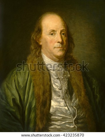 Benjamin Franklin, by Jean-Baptiste Greuze (copy) 1777, French painting, oil on canvas. Franklin sat for the painter Jean-Baptiste Greuze in 1777, soon after his arrival in France