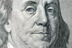 Benjamin Franklin From Dollar Bill, One Hundred Dollars, ColseUp