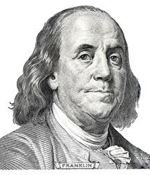 Benjamin Franklin on a dollar bill close-up. Business & Finance