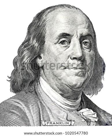Benjamin Franklin on a dollar bill close-up. Business & Finance Stock photo ©