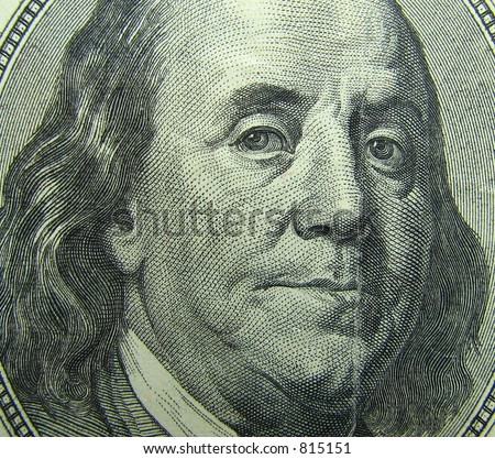 stock photo : Benjamin Franklin portrait. 100 dollar bill.