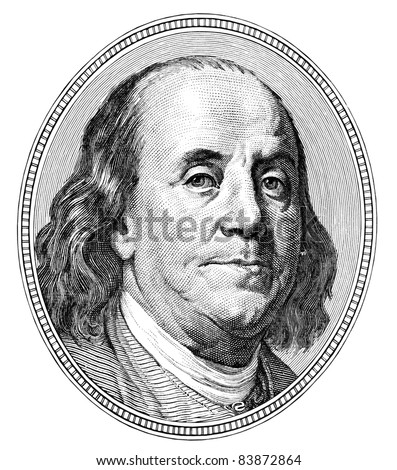 Benjamin Franklin. Qualitative portrait from 100 dollars banknote