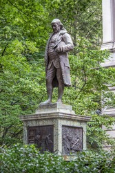 Benjamin Franklin Statue in front of Old City Hal on Boston's Freedom Trail Massachusetts USA
