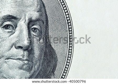 Benjamin Franklin with space for text on right