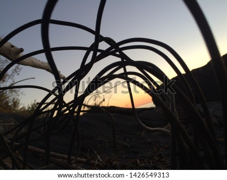 Bent metal scrap in rubble pile