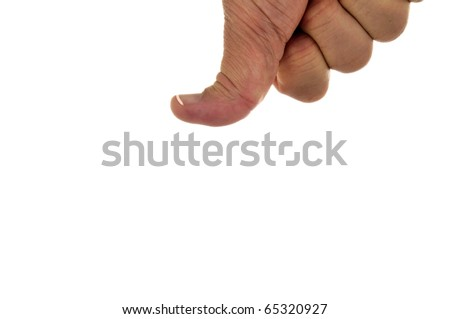 Bent thumb pressing down - isolated over white