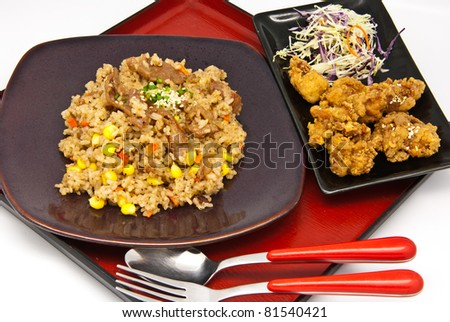 Bento, Japanese food style , fried chicken and  fried rice on white background