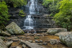 Benton Falls in Ocoee TN is a 65 foot high waterfall accessible by hiking trails from the Chilhowee Campground and is part of the Cherokee National Forest.