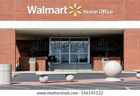 BENTONVILLE, AR - OCTOBER 4: An entrance to the Walmart Home Office on October 4, 2012. The Walmart Home Office is the world headquarters of the retail giant.