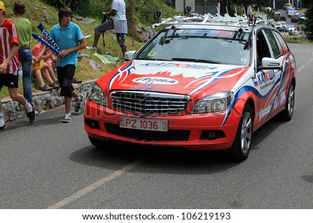 """BEOST,FRANCE-JUL 15:Official car of the Katusha cycling team on the category H climbing route to mountain pass Abisque in the 13th stage of the """"Le Tour de France"""",on July 15 2011"""