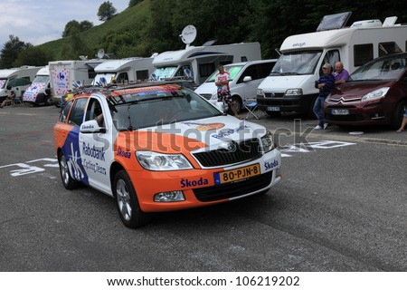 "BEOST,FRANCE-JUL 15:Official car of the Rabobank cycling team on the category H climbing route to mountain pass Abisque in the 13th stage of the ""Le Tour de France"", on July 15 2011"