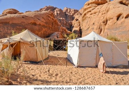 Berber tents in the Wadi Rum desert (Jordan)