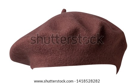 beret isolated on white background.bronw  hat female beret front view .