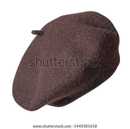 beret isolated on white background.brown hat female beret front side view .