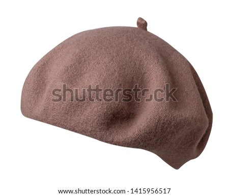 Beret isolated on white background. brown hat female beret sede view .