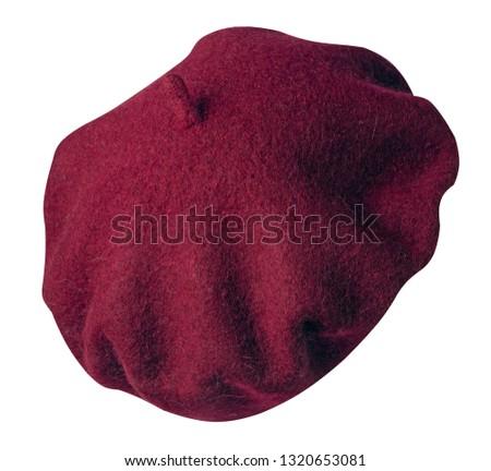 Beret isolated on white background. hat female beret.