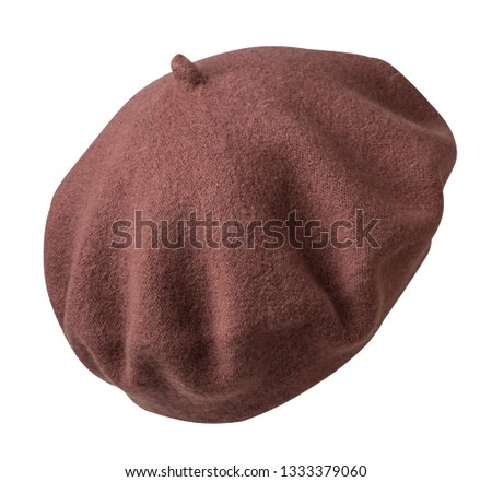 Beret isolated on white background. hat female beret.