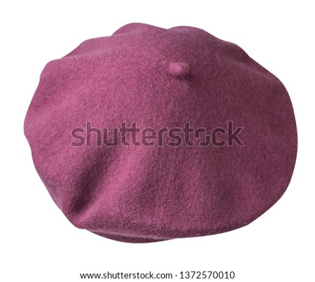Beret isolated on white background. Hat female beret .