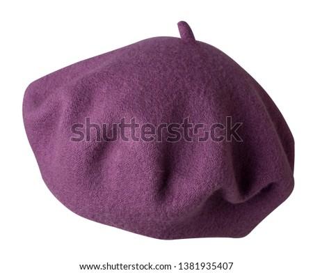 Beret isolated on white background. Hat female beret .