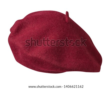 Beret isolated on white background. Hat female beret front side view .