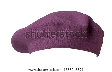 Beret isolated on white background. Hat female beret front view .