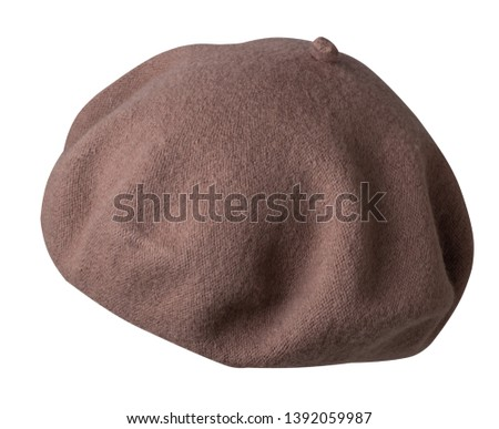 Beret isolated on white background. Hat female beret side view.