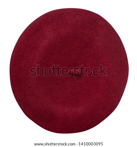 Beret isolated on white background. Hat female beret top view .