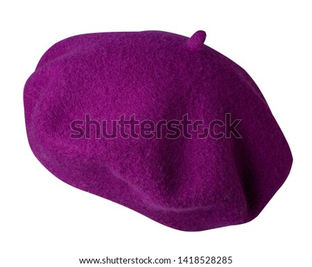 beret isolated on white background. hat female purple beret side view.