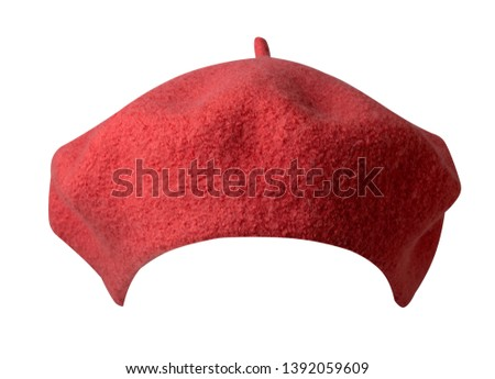 Beret isolated on white background.living coral hat female beret front view.