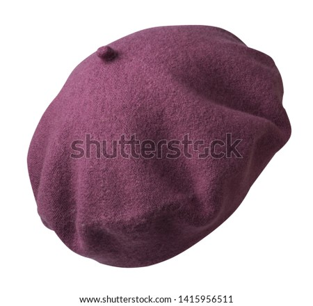 Beret isolated on white background. red  hat female beret back side view .