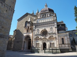 Bergamo, Italy. The old town. The Basilica of Santa Maria Maggiore and the Colleoni Chapel. Two of the most important monuments of the city and main attractions for tourists. Best of Italy