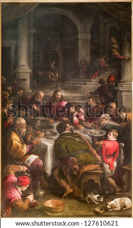 BERGAMO JANUARY 26 Paint of Last supper of Christ from 16 cent in cathedral Santa Maria Maggiore in on January 26 2013 in Verona Italy