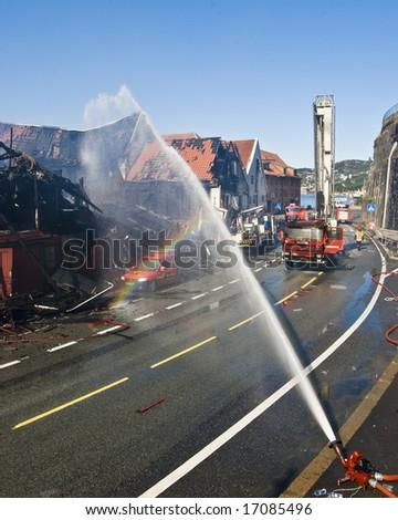 BERGEN CITY, NORWAY - SEPTEMBER 7: Fire in 1600 century buildings in Bergen City in Norway!Four buildings totaly damaged! September 7, 2008