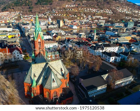 Bergen, Norway Cathedral View from the Air