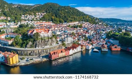 Bergen old town aerial view. Bergen, Norway. #1174168732