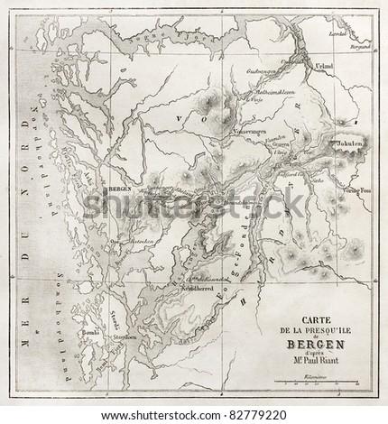 Bergen peninsula old map. Created by Vuillemin and Erhard, published on Le Tour du Monde, Paris, 1860