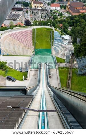 Bergiselschanze ski jumping hill tower, designed by the British Iraqi architect Zaha Hadid in Bergisel in Innsbruck, Austria.