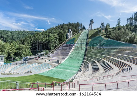 Bergiselschanze ski jumping hill tower finished in 2003 and designed by the British Iraqi architect Zaha Hadid in Bergisel in Innsbruck, Austria.