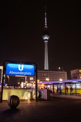 Berlin Alexanderplatz subway station by night