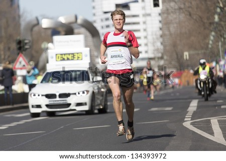 BERLIN - APRIL 7: Participants  of the thirty-third  half marathon at km 14, Ahwall,  2013  in Berlin, Germany.