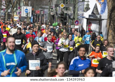BERLIN - APRIL 7: Participants  of the thirty-third  half marathon 2013  in Berlin, Germany.